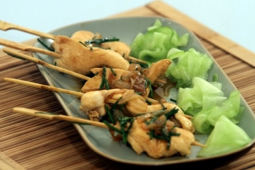 Marinated chicken in the Satay way « soy sauce, oyster sauce, turmeric, coconut milk, sugar and red curry »