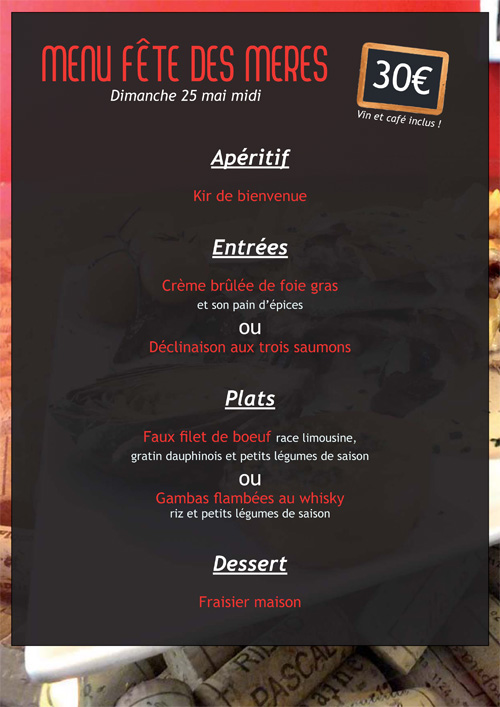 menu f te des m res dimanche 25 mai midi domaine ventajol et le bouchon restaurant aigu ze. Black Bedroom Furniture Sets. Home Design Ideas